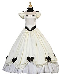 abordables -Lolita Cosplay / Victorien Costume Femme Robes / Bal Masqué Ivoire Vintage Cosplay Satin Elastique Manches Courtes Manche Gigot