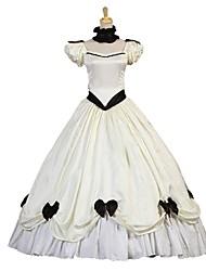 cheap -Cosplay Lolita / Victorian Costume Women's Dress / Masquerade Ivory Vintage Cosplay Elastic Satin Short Sleeve Puff Sleeve Halloween Costumes