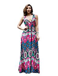 Недорогие -Жен. Классический А-силуэт Платье - Цветочный принт Макси Тропический лист