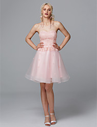 cheap -A-Line Sweetheart Neckline Short / Mini Lace / Tulle Cocktail Party Dress with Appliques / Pearls by TS Couture®