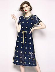 baratos -Mulheres Moda de Rua / Sofisticado Evasê Vestido - Renda / Bordado, Floral Médio