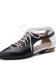 Недорогие -Жен. Обувь Полиуретан Весна лето С Т-образной перепонкой Сандалии На низком каблуке Розовый / Черно-белый