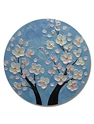 cheap -STYLEDECOR Modern Hand Painted Abstract Circular Frame Sky Blue Backgroud with White Flowers Oil Painting on