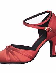 cheap -Women's Modern Shoes Satin Heel Slim High Heel Dance Shoes Brown / Red / Performance / Practice