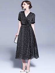 Недорогие -Жен. Классический А-силуэт / Оболочка Платье Сетка Средней длины