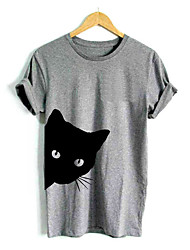 abordables -Tee-shirt Femme, Animal Chat