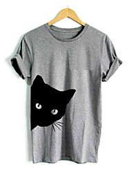 abordables -Mujer Camiseta Animal Gato