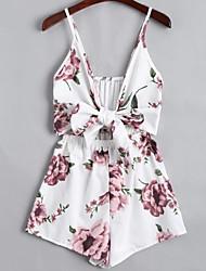 billige -Dame I-byen-tøj / Strand Sparkedragter - Blomstret Bredt Bukseben Med stropper