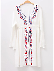 cheap -Women's Going out / Beach Cotton Loose Swing Dress Lace up / Embroidered V Neck
