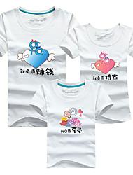 baratos -3 Peças Infantil Olhar de família Sólido / Estampa Colorida Manga Curta Camiseta