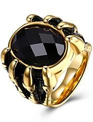 baratos -Homens Sapphire sintético Anel de banda - Inoxidável Fashion 7 / 8 / 9 / 10 Dourado Para Festa Diário
