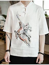 baratos -Homens Camiseta Vintage / Temática Asiática Animal / Retrato