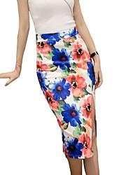 baratos -Mulheres Moda de Rua Lápis Saias - Floral