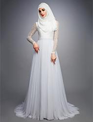 abordables -Trapèze Bijoux Traîne Tribunal Dentelle / Tulle Robes de mariée sur mesure avec par LAN TING BRIDE®