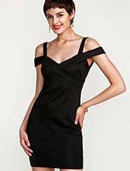 preiswerte -Damen Ausgehen Skinny Bodycon Kleid - Rückenfrei, Solide Übers Knie Schulterfrei Hohe Taillenlinie Rot / Frühling / Sommer