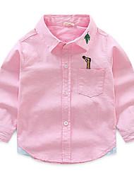 Недорогие -Дети Мальчики Классический С принтом Вышивка Длинный рукав Хлопок Рубашка