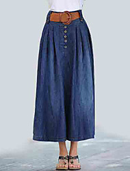 cheap -Women's Going out Denim Maxi A Line Skirts - Solid Colored High Waist