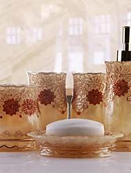 baratos -Jogo de Acessórios para Banheiro Novo Design Moderna Resina 5pçs - Banheiro Solteiro (L150 cm x C200 cm)