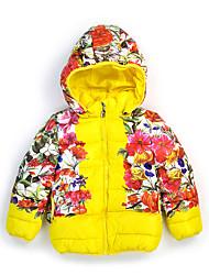 Недорогие -Дети Девочки Цветочный принт Длинный рукав На пуховой / хлопковой подкладке
