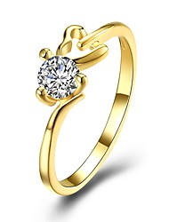 cheap -Women's Cubic Zirconia Band Ring - Gold Plated Fashion 6 / 7 / 8 Gold / White For Gift / Daily