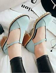 baratos -Mulheres Sapatos Couro Ecológico Primavera Verão Conforto / Plataforma Básica Saltos Salto Robusto Dedo Fechado Botas Cano Médio Azul / Rosa claro / Amêndoa