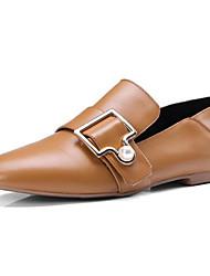 abordables -Femme Chaussures Cuir Nappa Printemps / Automne Confort Mocassins et Chaussons+D6148 Talon Bas Marron / Amande