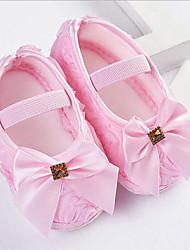 baratos -Para Meninas Sapatos Cetim Primavera Verão Primeiros Passos Rasos Laço para Bébé Roxo / Vermelho / Rosa claro