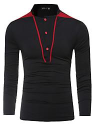 baratos -Homens Camiseta Básico / Moda de Rua Patchwork, Sólido