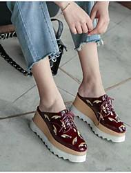Недорогие -Жен. Обувь Наппа Leather Весна лето Удобная обувь Башмаки и босоножки Микропоры Закрытый мыс Белый / Винный