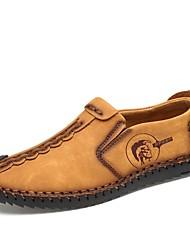 Недорогие -Муж. Кожаные ботинки Резина / Кожа Весна лето Мокасины и Свитер Дышащий Черный / Желтый / Хаки / на открытом воздухе / Обувь для вождения