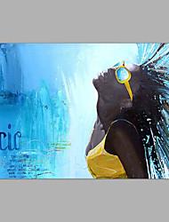 Недорогие -Hang-роспись маслом Ручная роспись - Люди Винтаж Без внутренней части рамки / Рулонный холст