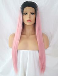 Недорогие -Синтетические кружевные передние парики Прямой Розовый Средняя часть Искусственные волосы Регулируется / Жаропрочная Розовый Парик Жен. Длинные Лента спереди Черный / розовый / Да