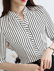 cheap -Women's Business / Basic Shirt - Striped Tassel