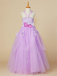 cheap -Ball Gown Ankle Length Flower Girl Dress - Polyester / Tulle Sleeveless Off Shoulder with Flower by LAN TING BRIDE®
