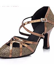 Недорогие -Жен. Обувь для модерна Кожа На каблуках Толстая каблук Танцевальная обувь Военно-зеленный