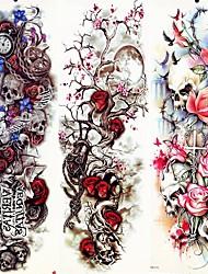 preiswerte -Decal-Stil temporäre Tattoos Arm / Bein Temporary Tattoos 3 pcs Tier Serie / Blumen Serie Glatte Aufkleber / Umweltfreundlich / Wegwerfbar Körperkunst Halloween / Sport & Natur / Party / Abend