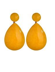 baratos -Mulheres Longas Brincos Compridos - Resina Na moda, Boho Amarelo / Azul Marinho Escuro Para Festa / Noite Feriado