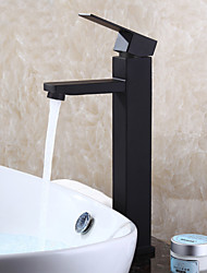 Недорогие -Ванная раковина кран - Широко распространенный черный По центру Одной ручкой одно отверстие