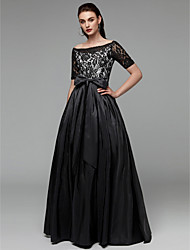 cheap -A-Line Boat Neck Floor Length Lace / Taffeta See Through Formal Evening Dress with Bow(s) / Sash / Ribbon by TS Couture®