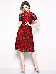 cheap -SHIHUATANG Women's Vintage / Sophisticated A Line Dress - Geometric Lace