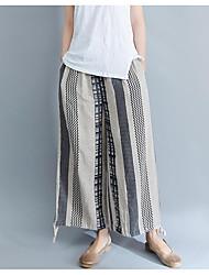cheap -Women's Basic Wide Leg Pants - Solid Colored Blue & White, Tassel