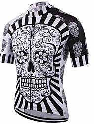 cheap -Malciklo Men's Short Sleeves Cycling Jersey - Red / White / Black / White Skull Bike Jersey, Quick Dry, Anatomic Design, Breathable