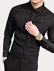 billige -Herre - Stribet Bomuld Skjorte / Langærmet