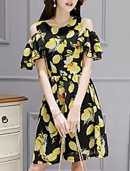 abordables -Mujer Línea A Vestido Fruta Hasta la Rodilla
