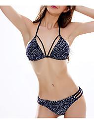 preiswerte -Damen Bikinis - Rückenfrei / mit Schnürung, Geometrisch Tanga-Bikinihose