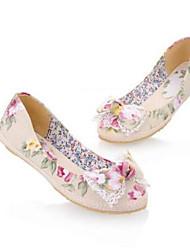 baratos -Mulheres Sapatos Lona Verão Conforto Rasos Sem Salto Dedo Fechado Roxo / Vermelho / Azul