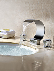 cheap -Bathroom Sink Faucet - Waterfall Chrome Widespread Two Handles Three Holes