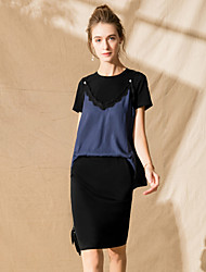 baratos -Mulheres Moda de Rua Malha Íntima - Guarnição do laço, Sólido Vestidos