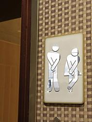 Недорогие -3d зеркало стикеры стены новый квалифицированный мужчина женщина туалет съемный милая семья сделай сам декор