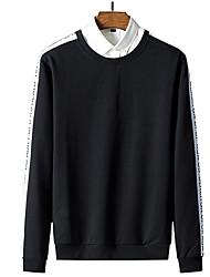 baratos -camisola de manga comprida de algodão para homem - gola de cor sólida